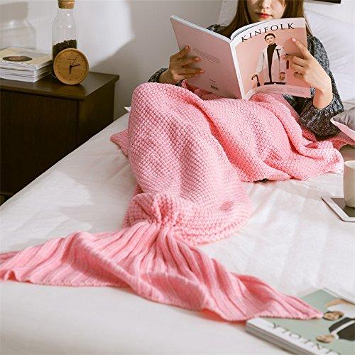 Neify - Meerjungfrau-Schwanz-Decke für Jugendliche / Erwachsene u. Kinder als Geschenk Weihnachtsgeschenk-Acrylfaser Super bequeme Snuggle-Decke mit doppeltem Nähen, um Füße warm zu halten ( Color : Pink 50*90cm )