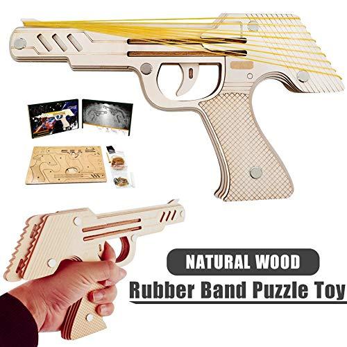 Aitravel 3D Holzpuzzle - Simulation Bullet Rubber Band Launcher , Mechanische Gummiband-Pistole (Gummibänder Für Waffen)