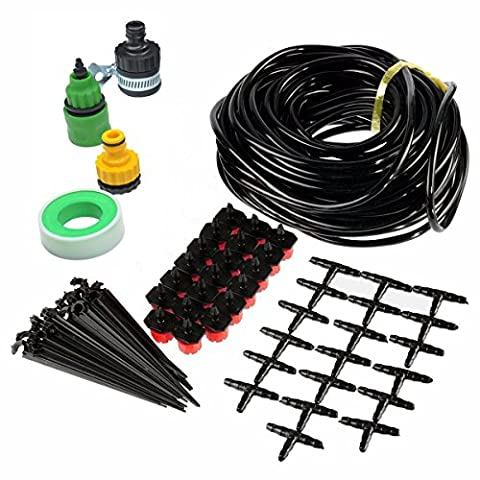 DaoRier DIY Micro Drip Irrigation Kits,49FT Hose,20 Dripper Fixed Stem,19 Tee Joints,3 Faucet Fittings,Tubing Watering Drip Kit for Garden Landscape Flower Bed Patio