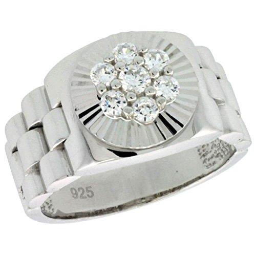 Revoni Sterling Silber Herren Rolex Uhr Band Stil Ring w/clustrige CZ Steine, 1/2in. (12,5mm) breit