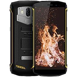 Telephone Portable Incassable, Blackview BV5800 Pro (Ecran 5.5' - 2 Nano SIM - Android 8.1 - Charge Sans Fil - Camera 13MP - 5580mAh Batteries) Telephone Portable Etanche/Antichoc/Antipoussière, Jaune