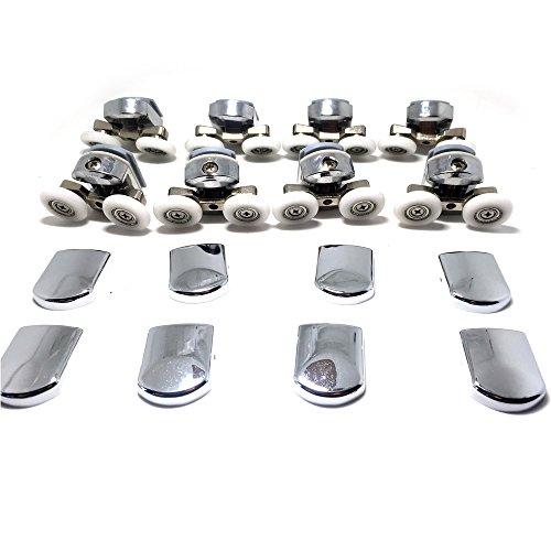 Neuf de remplacement Porte de douche Fixation de roues en chrome – 4 x Haut et 4 x Bas – Compatible avec verre 4–6 mm