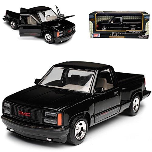 GMC Sierra Baugleich Chevrolet Silverado GMT400 4. Generation Pick-Up Schwarz 1988-1998 1/24 Motormax Modell Auto mit individiuellem Wunschkennzeichen (Gmc Spielzeug Auto)