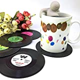 Xuniu 6 Stück Vinyl Record Retro Typ CD Untersetzer Untersetzer Tasse Cup Cup