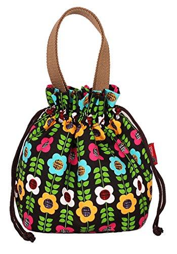 Fortunings JDS® Stampe della tela di canapa di vendita calda donne coulisse borsa secchiello tote foglie verdi