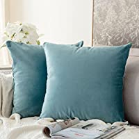 Pack de 2, miulee terciopelo suave juego de mesa de manta de decoración cuadrado fundas de almohada Funda de cojín para sofá dormitorio coche 18 * 18 pulgada 45 * 45 cm