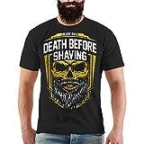 Männer und Herren T-Shirt Death Before Shaving Größe S - 8XL