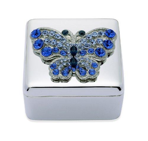 Portagioie farfalla in cristallo, colore: blu