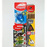 MAPED Bundle Pack of 10 Peps HB Pencils, Igoo Sharpener for Left Handers, Pack-of 3 Triangular Pyramide Erasers