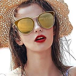 Gafas de sol de ojo de gato para mujeres, gafas polarizadas de moda vintage para conducir - 100% de protección UV400 (Marco Dorado/Lente café)
