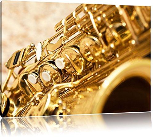 Saxophon Format: 120x80 cm auf Leinwand, XXL riesige Bilder fertig gerahmt mit Keilrahmen, Kunstdruck auf Wandbild mit Rahmen, günstiger als Gemälde oder Ölbild, kein Poster oder Plakat