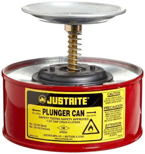 Justrite 10108Stahl Kolben Sicherheit können mit Messing und Ruton Kraftstoffpumpe, 1l Fassungsvermögen, 7–1/10,2cm OD X 5–7/20,3cm H, rot