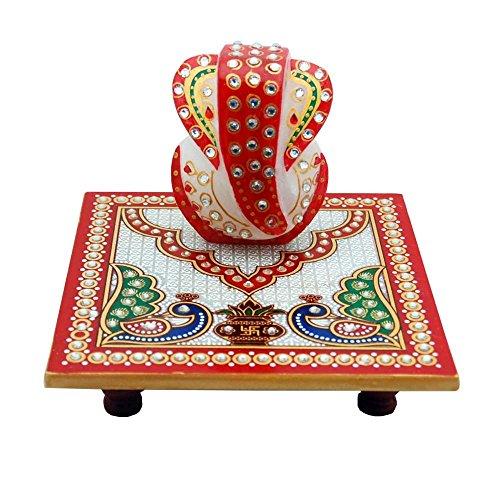 Villcart Marble Chowki With Ganesha