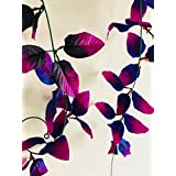 Rain Forest Artificial Plant Vines (Value Pack Of 2 X 8ft) Moonlight Purple Shades / Artificial Plants For Living Room / Artificial Plants For Decoration / For Wall Decoration, Wedding Decoration, Party Decoration, Vehicle Decoration, Stage Decoration / L