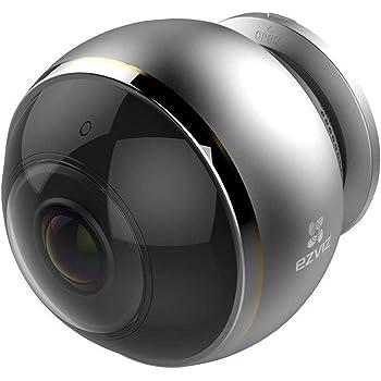 EZVIZ Mini Pano Telecamera di Sicurezza, 3 MP Panoramica Fisheye, 2.4 e 5 Ghz Doppia Banda Wi-Fi, Audio Bidirezionale, Baby Monitor, Visione Notturna