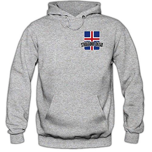 Island EM 2016 #5 Kapuzenpullover | Fußball | Herren | Strákarnir okkar | Trikot | Nationalmannschaft, Farbe:Graumeliert (Greymelange F421);Größe:XL