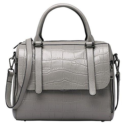 SAIERLONG Neues Damen Grau Rindleder-Echtes Leder Damen Handtaschen Schultertaschen Grau