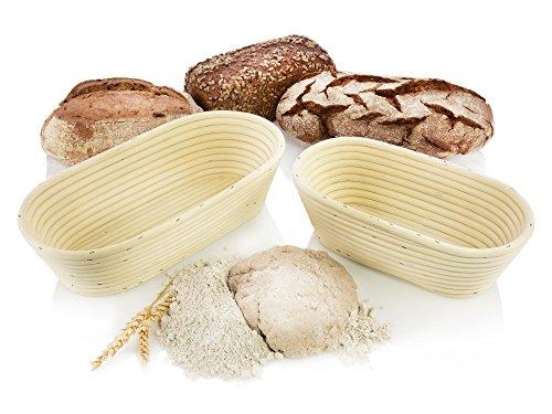 Bluespoon Gärkörbchen Set aus Rattan/Peddigrohr 2 teilig | Perfekt geeignet für ovale Brote mit 1-1,5 kg Teig | Verleiht den Broten Seine typischen Rillen