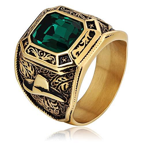 Bishilin Edelstahl Ring Herren Gothic Bullenkopf Grün Rechteck Strass Zirkonia Partnerringe Männer Ring Gold Größe 57 ()