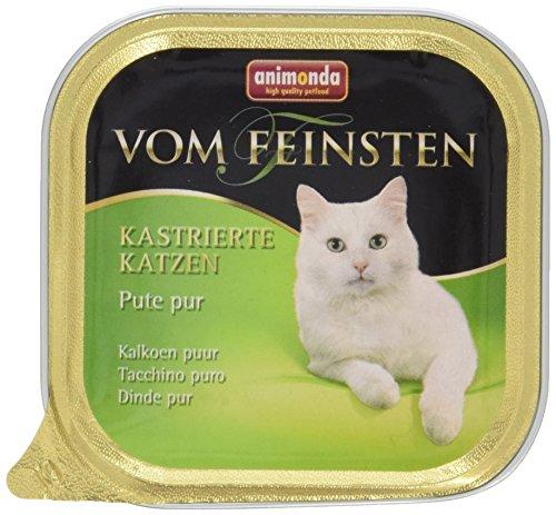Animonda Vom Feinsten kastrierte Katzen Nassfutter, für ausgewachsene Katzen, Pute pur, 32 x 100g