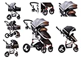 TomiKid Grey Travel System 3 in 1 Combi Stroller Buggy Baby Child Pushchair