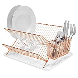 simplywire - Folding Dish Drainer - Durable Plate Drying Rack with Cutlery Holder Basket - Copper