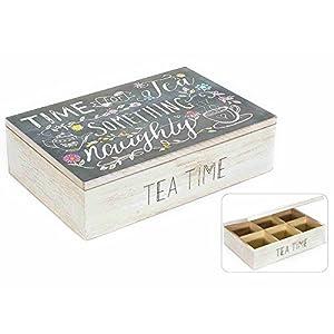 Boîte pour sachets de thé en bois 6 places avec couvercle imprimé. 51.28.37 boîte de tisane épices à la camomille épices infusé bonbons