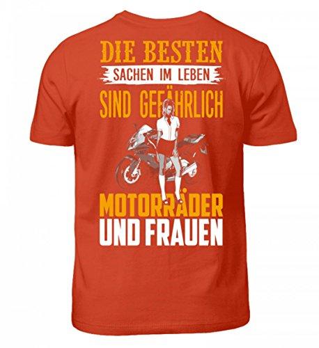Shirtee Hochwertiges Kinder T-Shirt - Motorrad Shirt · Geschenkidee für Superbike-Fahrer · Biker Aufdruck Motiv/Spruch · Verschiedene Farben Orangerot