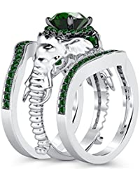 Silvernshine Milgrain Halo 9K White Gold Plated 1.2Ct Round Green Garnet CZ Diamond Elephant Ring