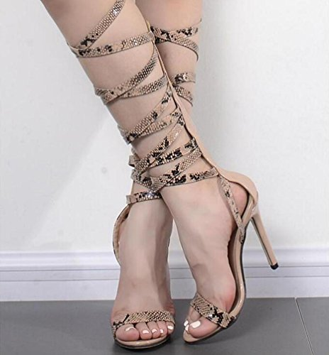Serpente 11 cm Stiletto Heel Open Toe PU Cravatte Casual partito femminile femminile casual femminile donne scarpe UE taglia 35-40 serpentine