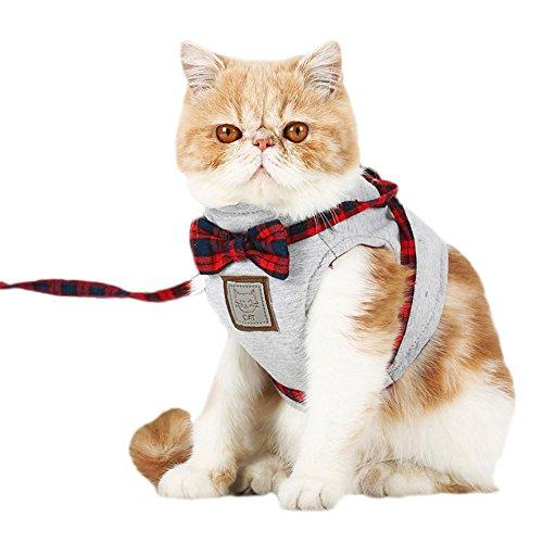 Yonfan Katzengeschirr mit Leine, Verstellbar Katzenleine mit Geschirr für Katzen, Kitten, Hunde, Welpen Rot Plaid XS