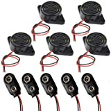 RUNCCI-YUN 5 pcs DC 3-24 V électronique Alarme Buzzer Sounder Son continu Beep Intermittente (Lot de 5) +Connecteur Pile 9v (Lot de 5)