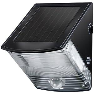 Brennenstuhl LED Solarlampe mit Bewegungsmelder / Außenleuchten mit integriertem Solarpanel und Infrarot Bewegungssensor, Farbe: schwarz
