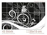 GRAZDesign Badfliesen überkleben Blumen - PVC Fliesen selbstklebend glänzende Folie - Fliesen Folie Schwarz - weiß - Fliesenaufkleber Küche Ornamente / 25x15cm (BxH) / 766167_25x15_100