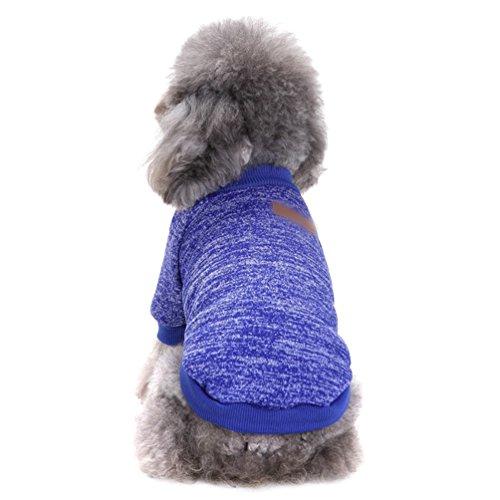 YiJee Haustier Hund Kleidung Kleine Hundchen Klassische Warme Pullover Dunkel Blau S