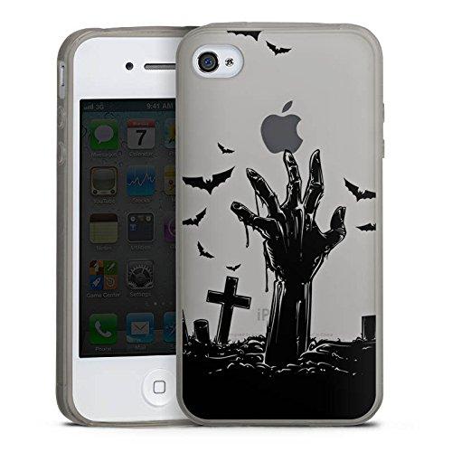 (Apple iPhone 4 Slim Case transparent anthrazit Silikon Hülle Schutzhülle Zombie Halloween ohne Hintergrund)