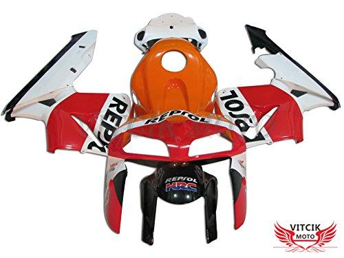 VITCIK (Kit de Carenado para CBR600RR F5 2005 2006 CBR600 RR F5 05 06) Accesorios de Repuesto para Bastidor y carrocería con(Naranja & Rojo) A002