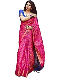 Fabrica Fab Women's Pink And Blue Patola Silk Saree With Blouse Piece