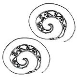 Chic-Net Pendientes de plata espirales amplia puñetazos jaspe ovalada de...