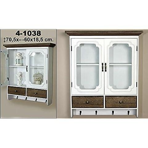 DonRegaloWeb - Vitrina - Estantería de madera y metal con 2 puertas y perchero de 4 ganchos en color blanco decape y