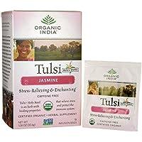 TULSI JASMIN 18 INFUSION BAGS - CAFFEINE FREE - 100%CERTIFIED ORGANIC - ORGANIC INDIA - FIORE D'ORIENTE
