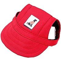 Sannysis accesorios para perros, sombrero de visera de béisbol para mascotas pequeñas (rojo, S)