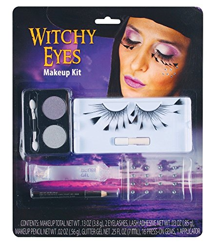 Halloween Schmink-Set mit Wimpern Strass Glitter Vampir Hexe Spinne Schminke Make-up Kit, Namen:Witchy Eyes (Hexe Vampirin)