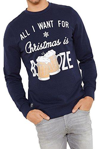Herren Threadbare Neuheit Aufdruck Pullover Festive Weihnachts Pullover FMV031-Marine