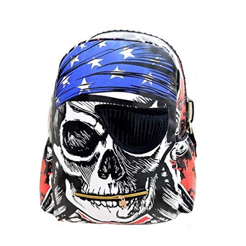 Valentoria Rucksack für Schule, Schädel, Skelett-Muster, Piratenrucksack, Punk wasserdicht, Tagesrucksack, Reiserucksack, Geschenk für Jungen Gilrs Kinder, Totenkopf