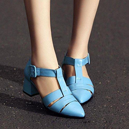 Sandalen Damen GLTER Pumpe Blau Spitz Gericht Schwarz Leder Schuhe Heel R枚mische Blue Mid Zehe 8AqSdr8x