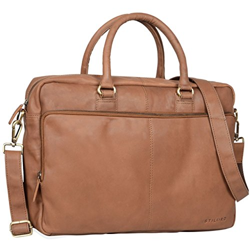 STILORD 'Aaron' Umhängetasche Leder 15,6 Zoll Laptoptasche Aktentasche Bürotasche Unitasche mit Schultergurt Business Vintage, Farbe:Sattel - braun -