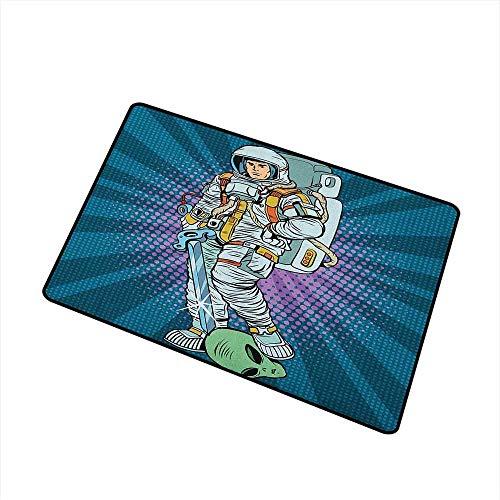 Kinhevao Astronaut Inlet Outdoor Fußmatte Galaxy Figure und Severed Alien Head Maskuline Space Era Fighters Design Fang Staub Schnee und Schlamm Petrol und Kokos Badematte