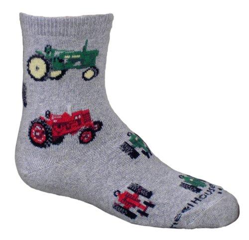 Traktoren Grau Kinder Fußkettchen Socken (Socken Fußkettchen Grau)