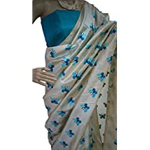 Harikrishnavilla Women's Latest Designer Party Wear New Collection Chanderi Cotton Bollywood Trendy Elegant 2018 Latest Designe Saree For Women With Bangalore Silk Unstitched Blouse ( Multi-Colour Butterfly, Free Size)